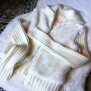 FOREVER 21 Faux Fur Cream Sweater